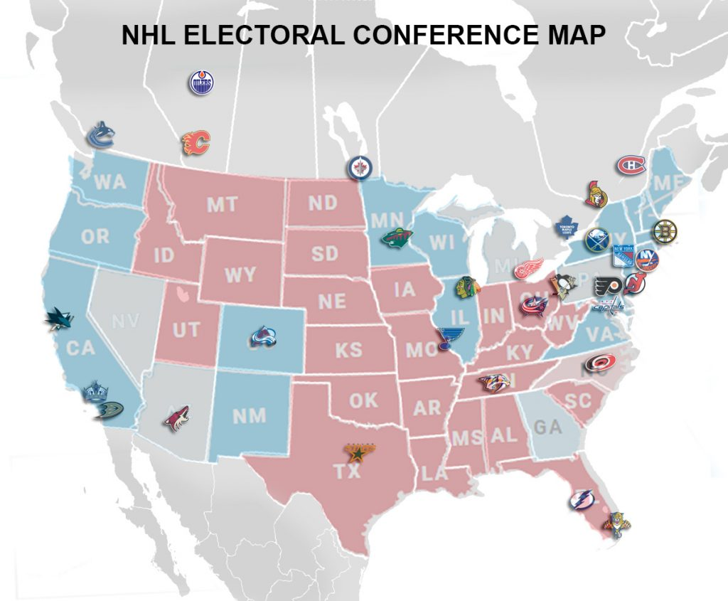 Election RED and BLUE NHL Divisions Map